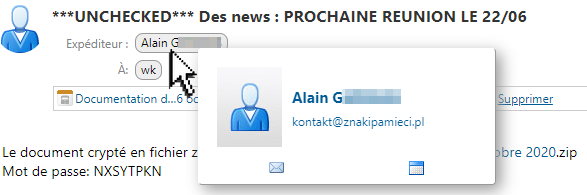 Au survol du nom de l'expéditeur Alain G, l'adresse email est kontakt@znakipamieci.pl